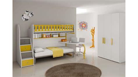 chambre avec lit mezzanine chambre enfant complète lits superposés compact