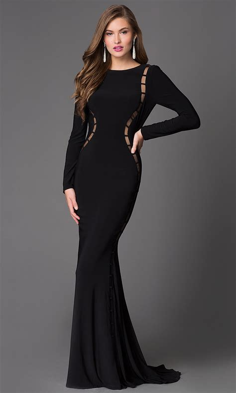 Long Sleeve Backless Evening Dress Promgirl