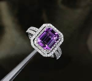 engagement rings with purple diamonds vvs purple amethyst 14k white gold pave engagement ring yourgem jewelry on artfire