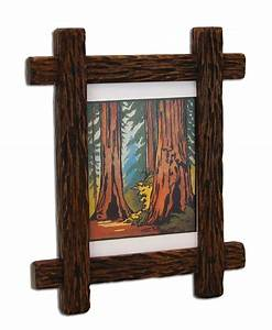 Custom Made Carved Adirondack Rustic Picture Frame by