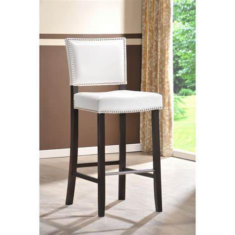 Aries White Modern Bar Stool with Nail Head Trim   See White