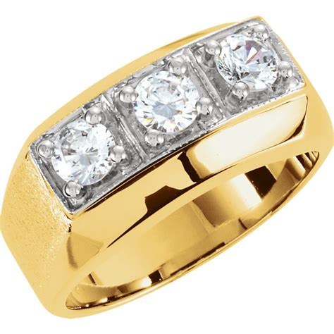 34332 Agape Diamonds Coupon by 14k Two Tone Gold Mens 3 Ring 1 50 Ctw