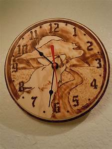 Calling, The, Night, Wood, Burned, Clock, Wolf, Howling, Home, Decor, Wall, Decor, Wall, Hanging, Gift