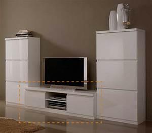 Meuble Tv Plasma Roma Laque Blanc Blanc