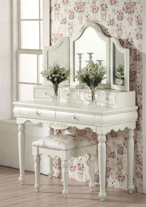 furniture white dressing table with mirror and drawers