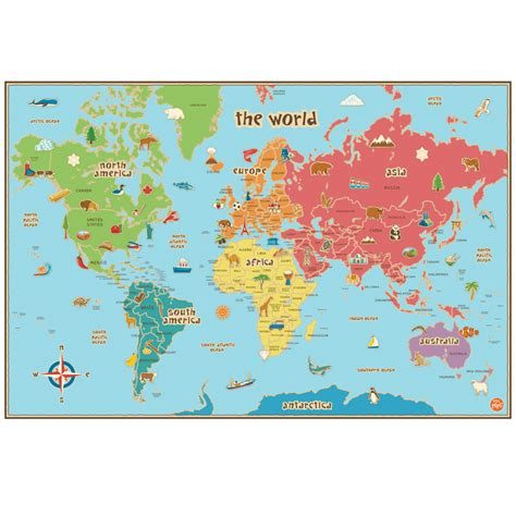 Carte Du Monde Pour Enfants Adhésive