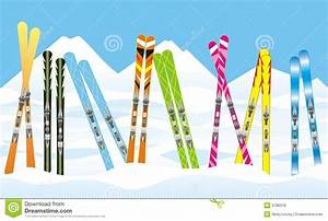 Skis in the snow stock vector. Illustration of card, snowy ...