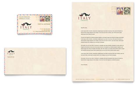 italy travel business card letterhead template design