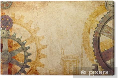 steampunk gears  cogs background canvas print pixers