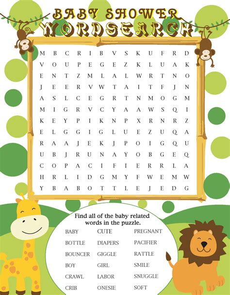 word for shower printable jungle themed baby shower word search