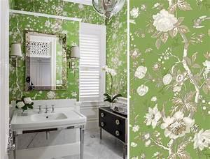 Papier Peint Pour Salle De Bain : des papiers peints verts pour une salle de bain blog au ~ Dailycaller-alerts.com Idées de Décoration