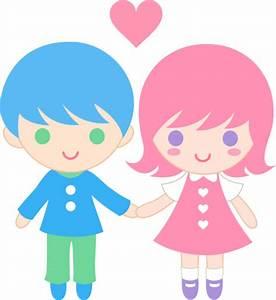 Cute Valentines Day Kids - Free Clip Art