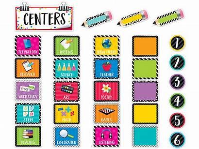 Classroom Centers Board Bulletin Bright Bold Zoom