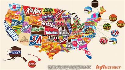 Candy States United Map Favorites Across Disturbing