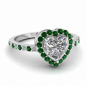 Heart halo ring fascinating diamonds for Emerald green wedding ring