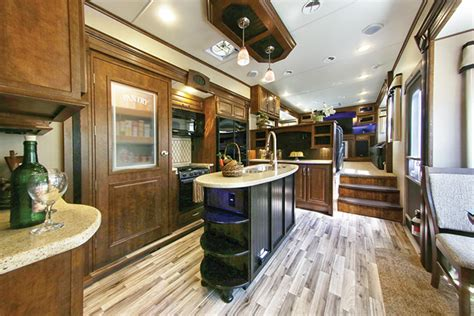 fifth wheel with front living room and outdoor kitchen
