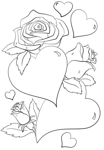hearts  roses coloring page  printable coloring pages