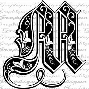 letter initial m monogram old engraving style type text With engraving letter styles