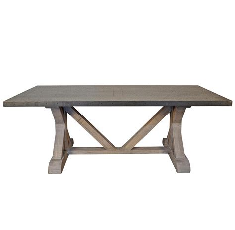 x base dining table duane industrial loft zinc top x base rectangular dining