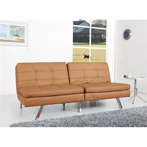 camel faux leather sofa brika home faux leather convertible sofa in camel br 526769