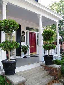 White house, black shutters, red door | Porches & Patios ...