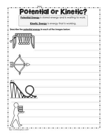 Potential Or Kinetic Worksheets