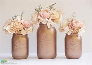 Rose Gold Decor : fall wedding decor tawny bronze painted mason jars ~ Teatrodelosmanantiales.com Idées de Décoration
