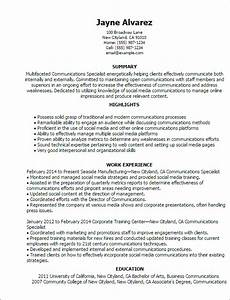 professional communications specialist templates to With communications resume template