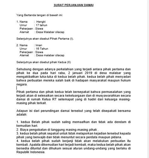 contoh surat perjanjian damai perkelahian antar pemuda