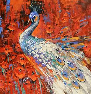 White Peacock Wall Art Oil Painting on canvas by Dmitry