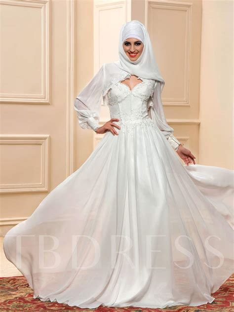 appliques muslim wedding dress  hijab tbdresscom