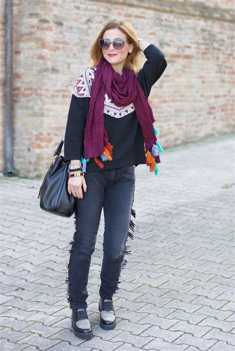 Tassel Ethnic Torques Black fringed and tassel scarf ethnic chic