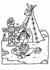 Teepee Coloring Indian sketch template