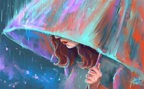 Umbrella Girl Painting Art Wallpaper