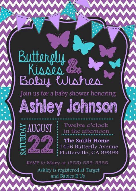 Purple Baby Shower Invitations purple teal butterfly baby shower invitation by