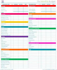 Monthly Budget Excel Spreadsheet Free Printable Monthly Budget Worksheet Calendar Template 2016