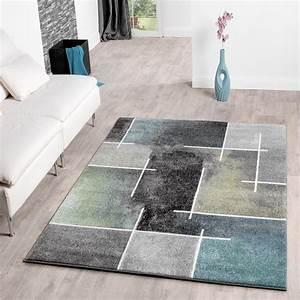 Moderne Wohnzimmer Teppiche : wohnzimmerteppich in grau t rkis gr n anthrazit meliert ~ Sanjose-hotels-ca.com Haus und Dekorationen