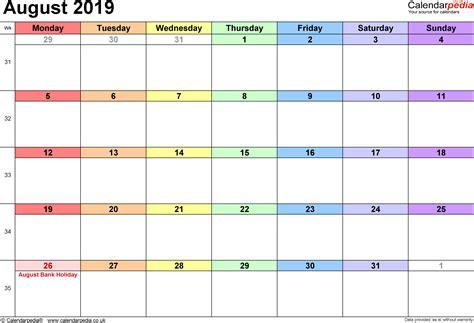 calendar august uk bank holidays excelpdfword templates