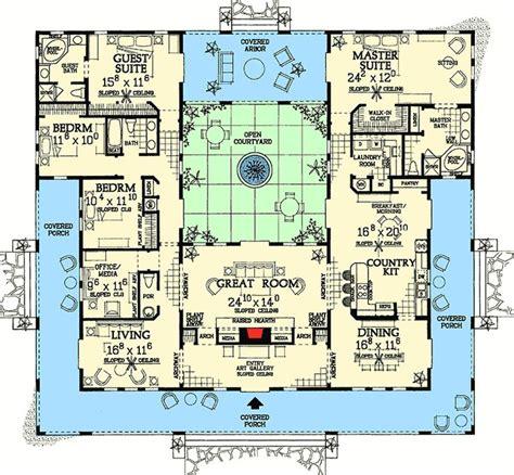 plan  open courtyard dream home plan pool house plans mediterranean house plans