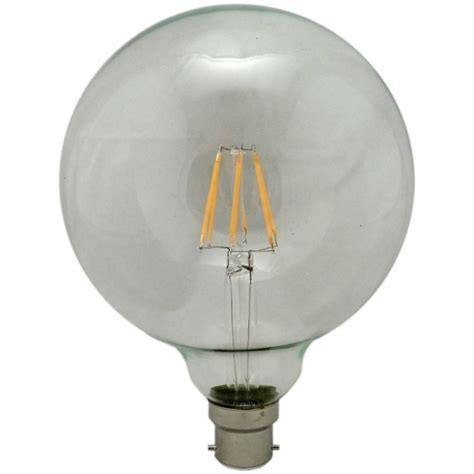 globe light bulbs g125 125mm 6 watt bc b22mm led filament globe light bulb