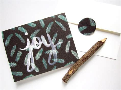 watercolor joy christmas card  black green