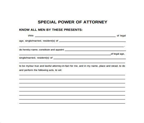 special power  attorney forms samples examples