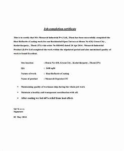 Course Completion Certificate Format Word Job Completion Certificate Example
