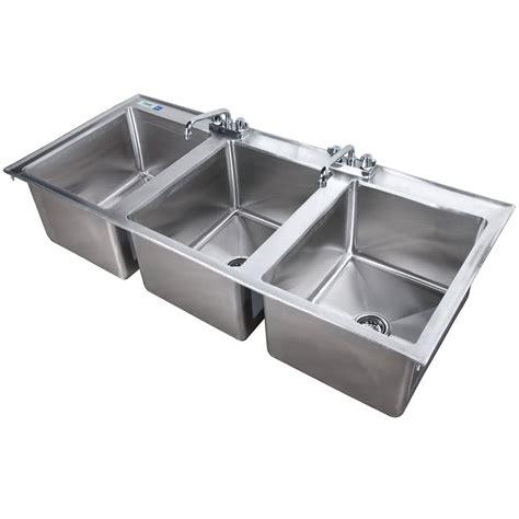 stainless steel sink faucet regency 16 quot x 20 quot x 12 quot 16 gauge stainless steel three