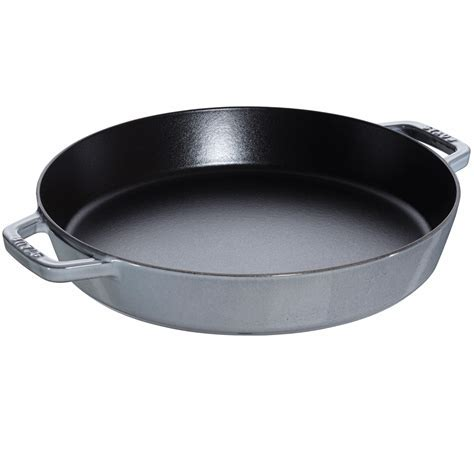 "Staub Cast Iron 13"" Double Handle Fry Pan   Graphite Grey"
