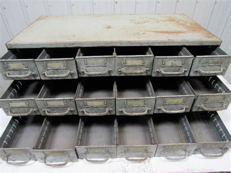 vintage  drawer industrial steel small parts bin storage