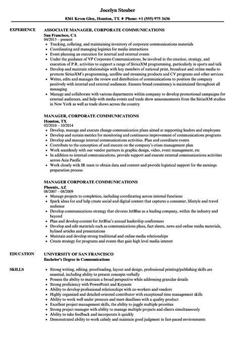 Corporate Resume Builder by Manager Corporate Communications Resume Sles Velvet
