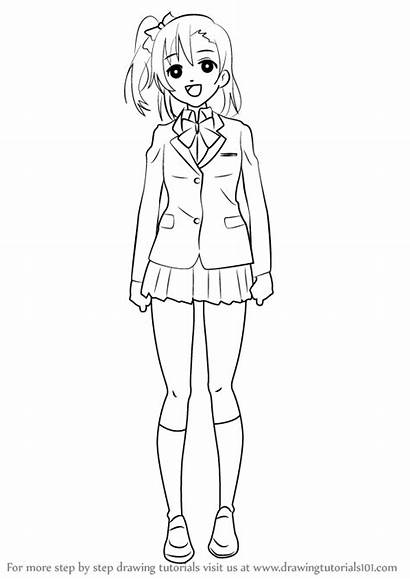 Draw Honoka Drawing Kousaka Step Anime Tutorials