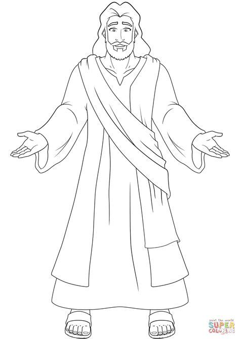 jesus  open hands coloring page  printable coloring pages