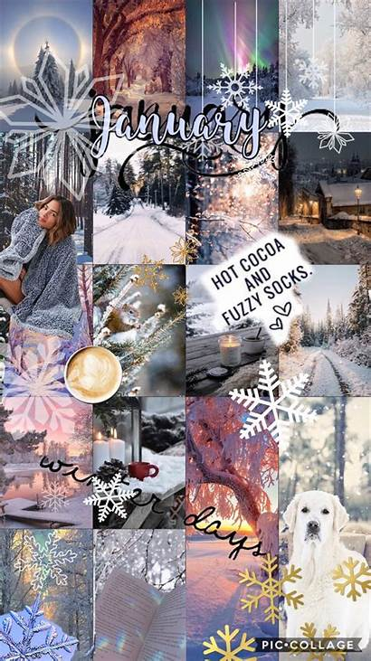 January Collage Iphone Winter Aesthetic Wallpapers Phone
